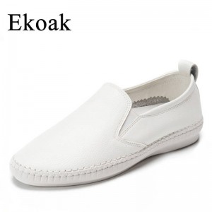 Ekoak Genuine Leather Classic Women Spring Shoes Flat Heel Round Toe New Thumbnail