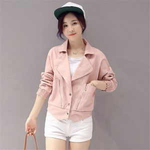 Elegant Fashion New Arrivals Pink Denim Jacket Women Spring Autumn Jacket For Women Clothing Zipper Pockets Denim Coats