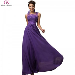 Elegant Female Formals Long A Line Vestido Chiffon Sleeveless Pink Purple Prom Dress Women Formal Dresses