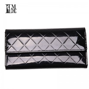 Elegant Plaid Patent Leather Women Wallets Long Purse Clutch Designer Spring New Arrival Antique Clutch Thumbnail