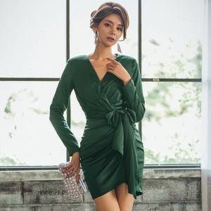 Elegant V Neck Women Skinny Dress Autumn Slim Waist Lace Up Bodycon Dress 2019 Female Mini Vestidos Good Quality