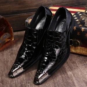 Embossed Patent Leather Slip On Dress Shoes Formal Oxfords Pointed Toe Men Thumbnail