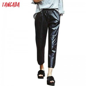European Fashion Women Black Faux Leather Elastic Waist Harem Pants For Women New Latest Thumbnail