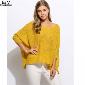 Fanala Women Sweater O Neck Batwing Casual Loose Solid Knitted Poncho Pullover Women