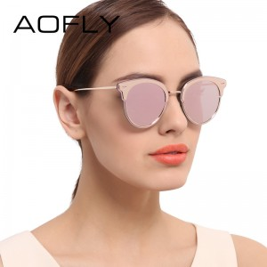 Fashion Cat Eyes Sunglasses Mirror Coating Lens Sunglasses Women Brand Designer Metal Frame Eyewears feminino UV400