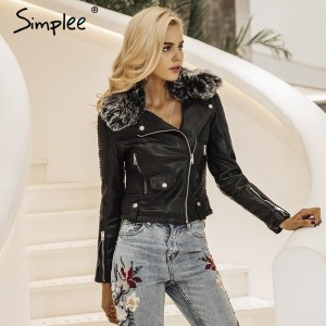 Fashion fur collar basic jacket coat outerwear coats Streetwear black faux leather coat female PU leather jacket women