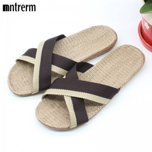 Fashion Home Cross Color Linen Slippers Canvas High Quality New Design For Men Thumbnail