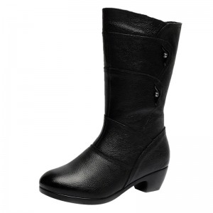 Fashion Ladies Knee High Winter Boots Soft Leather Boots Woman Black Zip Warm Women Thigh High Round Toe Boots Shoes
