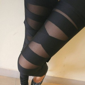 Fashion Mesh Sexy Halloween Gothic Leggings Punk Rock Elastic For Women Thumbnail