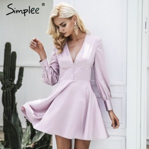 Fashion satin soft fashion winter dress women V neck short sexy dress Autumn button long sleeve dress vestido de festa