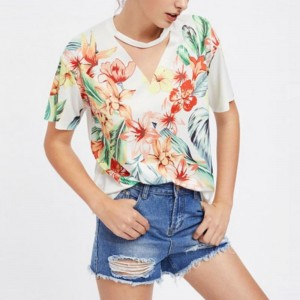 Fashion Summer Tshirt 2018 Floral Print Short Sleeve T Shirt Women Casual T Shirt Female Floral Top Tees Cute Girl Tees