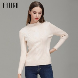 Fashion Women Turtleneck Full Sleeve Slim Pullovers Solid Color Casual Knitted Ribbed Sweater Jumpers For Ladies
