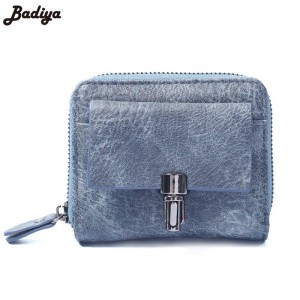 Female Retro Matte Pu Leather Purse Wallet With Zipper Vintage Small Card Bag Bifold High Quality Thumbnail