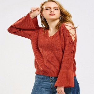 Flare Sleeve Lace Up Sweater Women Jumpers Pullovers Long Sleeve Knitted Sweaters pull femme Autumn Winter Sweaters