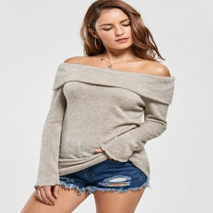Gamiss Pullover Sexy Off Shoulder Sweater Cardigan Slash Neck Long Sleeve Knitted Winter Autumn Sweater Dress For Women