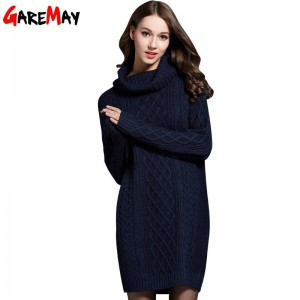 Garemay Sweater Turtleneck Pullover Long Dress Spring Casual For Women Thumbnail