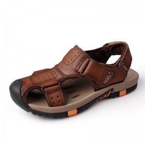 Genuine leather Men Sandals Breathable Leather Mens Summer Sandals Non Slip Rubber Soles Beach Shoes Plus Size