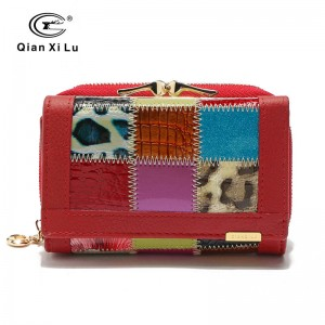 Genuine Leather Patchwork Wallet Small Purse Short Design For Women Stylish New Arrival Thumbnail
