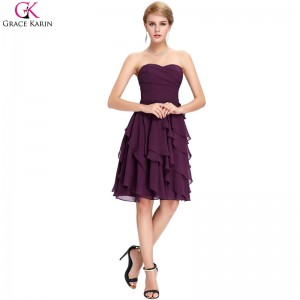 Grace Karin Cocktail Dress Simple Strapless Chiffon Short Purple Formal Gowns Wedding Party Dress Occasion Dresses