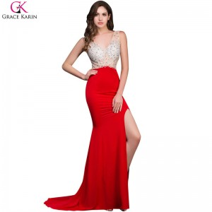 Grace Karin Mermaid Prom Dresses Beaded Sequin Backless Sleeveless High Slit V Neck Red Formal Gowns Sexy Party Dress