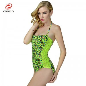 Green Leopard Swimwear For Women One Piece Bikini Backless Vintage Attractive Beachwear For Ladies