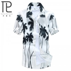 Hawaiian Male Casual Musculine Printed Beach Shirt Short Sleeve For Men Thumbnail