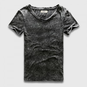 Heavy Washed Black T Shirt Men Fashion Retro Vintage T Shirts For Men Slim Fit V Neck Top Tees Male Short Sleeve