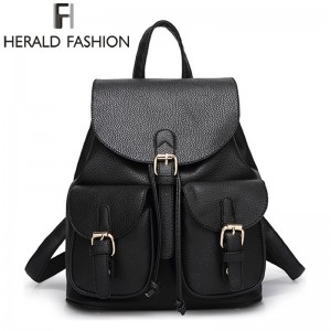 Herald Fashion Vintage Leather Backpacks High Quality School Bags For Teenagers Female Travel Drawstring Bags