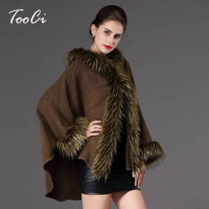 High Quality Autumn Winter Long Knitted Poncho Wool Cashmere Sweater For Women