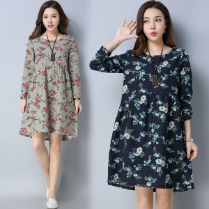 High Waist Loose Fit Knee Length Autumn Dress For Women Regular Draped A Line Dress Casual O Neck Dress For Female