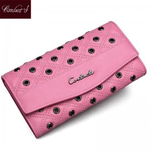 Hollow Out Eyelet Quilted Soft Genuine Leather Women Wallet High Quality Leather Wallets Women Thumbnail