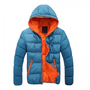 Hooded Spring Down Jacket Cotton Coat Constrast New Design For Men Thumbnail