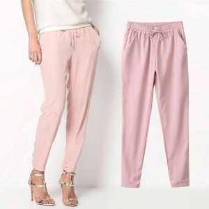 Hot Casual Chiffon Elastic Waist Pants Trousers Summer Wear For Women Thumbnail