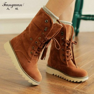 Hot European Style Winter Boots Flock Lace Up With Button Flat Heel Women Thumbnail