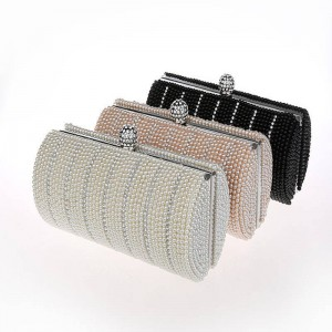 Hot Fashion Handmade Crystal Beaded Pearl Evening Clutches Bags Party Prom Wedding Small Clutches For Women Thumbnail