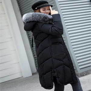 Jacket Women Long Cotton Padded Thicken Coat Women Parka Big Fur Collar Hooded Womens Jackets Coats Outerwear