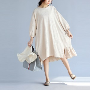 Johnature Women Lantern Sleeve Dresses Khaki  Autumn New Casual Sweet Loose Brief One Size Women Dress Korean Style