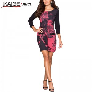 Kaige Nina Autumn Sexy Slim Printed Casual Mini Dress Long Sleeve Sheath Casual Women Thumbnail