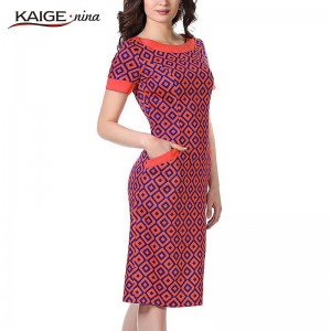 Kaige Nina Short Sleeve Grid Style Round Collar Straight Knee Length Dress For Women Thumbnail