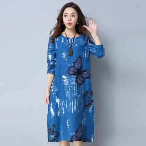 Knee Length A Line Butterfly Printed Casual Party Vintage Printed Cotton Linen Spring Autumn Dress For Female