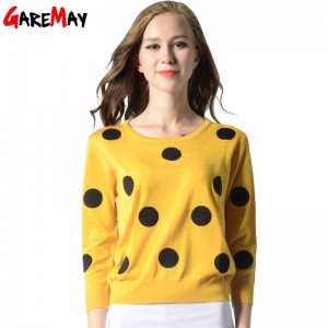 Knitted Sweater Autumn Women Polka Dot Slim Elegant Yellow Sweater For Women