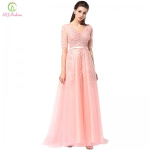 Lace Evening Dress The Bride Banquet Sexy V Neck Half Sleeves Embroidery Long Party Prom Dress Formal Robe