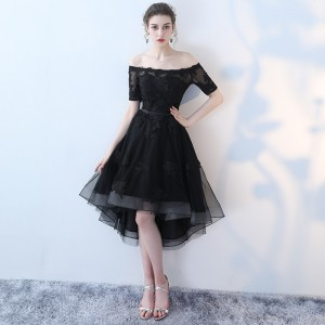 Lamya Princess Short Front Long Back Prom Dresses Sexy High Low Party Dress Elegant Lace Plus Size Fromal Gown