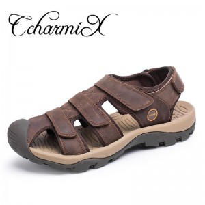 Large Size Genuine Leather Men Sandals Gladiator Summer Beach Sandals Casual Outdoor Ultra Light Sandal Men Flats