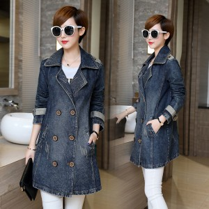 Larger Size Women Basic Coats Spring Jeans Jacket Double Breasted Long Denim Jacket Women Bomber Coat Casual Outerwear
