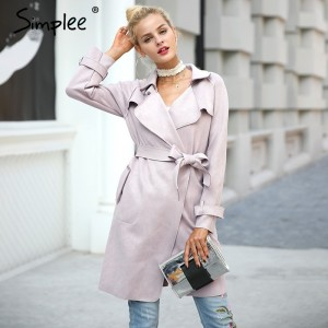 Leather suede winter autumn coat Women elegant belt  long windbreaker Casual turndown outerwear trench coat female