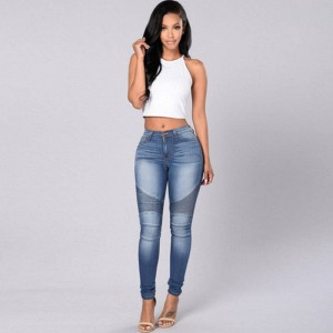 Leggings Jeans For Women Denim Pants Slim Jeggings Plus Size Leggings Blue Pleated Pencil Jenas For Women Thumbnail