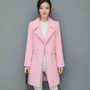Leisure Elegant Ladies Woolen Long Coats Autumn Winter Fashion Thick Ladies Solid Bodycon Women Jackets Outerwear