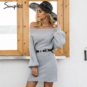 Long knitted sweater dress Women elegant loose winter pullover dress Autumn batwing sleeve gray sweater jumper