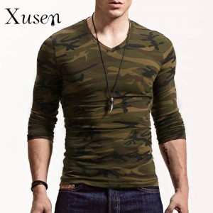 Long Sleeve T Shirts Printed Camouflage Autumn Cotton European Style For Men Thumbnail